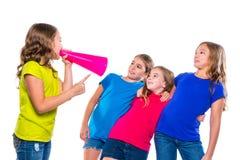 Megaphone leader kid girl shouting friends. Megaphone leader kid girl shouting speaking to friends on white background political leadership stock photos