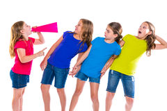 Megaphone leader kid girl shouting friends. Megaphone leader kid girl shouting speaking to friends on white background political leadership stock photography