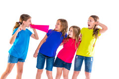 Megaphone leader kid girl shouting friends. Megaphone leader kid girl shouting speaking to friends on white background political leadership stock photos