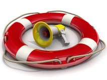 Megaphone is in lifebuoy Stock Photography