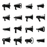 Megaphone loud speaker icons set, simple style. Megaphone loud speaker icons set. Simple illustration of 16 megaphone loud speaker alcohol logo vector icons for Royalty Free Stock Photography