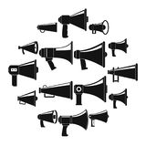 Megaphone loud speaker icons set, simple style. Megaphone loud speaker icons set. Simple illustration of 16 megaphone loud speaker alcohol logo vector icons for Stock Photography
