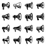 Megaphone loud speaker icons set, simple style. Megaphone loud speaker icons set. Simple illustration of 16 megaphone loud speaker alcohol logo vector icons for Royalty Free Stock Photos