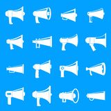 Megaphone loud speaker icons set, simple style. Megaphone loud speaker icons set. Simple illustration of 16 megaphone loud speaker alcohol logo vector icons for stock illustration