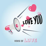 Megaphone of love. hearts -  Royalty Free Stock Images