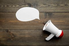 Free Megaphone Make An Announcement On Dark Wooden Background Top View Copy Space Mockup Royalty Free Stock Photo - 113349185