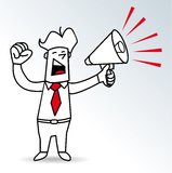 Megaphone man. A businessman shouting in a megaphone Royalty Free Stock Photos