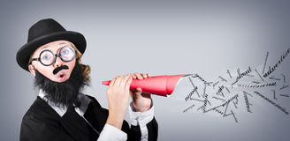 Megaphone man making loud business noise. With hand held speaker on grey background. Advertise Royalty Free Stock Photo
