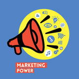 Megaphone with Marketing Power concept Vector Icon Stock Images