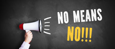 Megaphone with `No means No!!!` Stock Photos