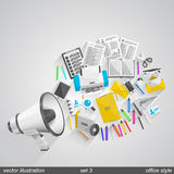 Megaphone office style set 3 Stock Photo