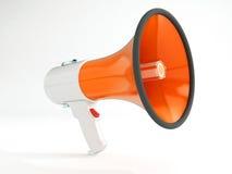 Megaphone orange grey. High resolution 3d render of an Megaphone painted in orange/grey isolated on white Royalty Free Stock Photo
