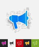 Megaphone paper sticker with hand drawn elements Stock Images