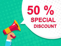 Megaphone with 50 PERCENT SPECIAL DISCOUNT announcement. Flat style illustration. Flat illustration of megaphone with announce on the bubble speech 50 PERCENT Stock Photo