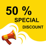 Megaphone with 50 PERCENT SPECIAL DISCOUNT announcement. Flat style illustration. Flat illustration of megaphone with announce on the bubble speech 50 PERCENT Stock Photography