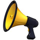 Megaphone propaganda (Hi-Res). Shiny yellow with black parts megaphone. Announcement concept. This is a detailed 3D render (Hi-Res). Isolated on white Royalty Free Stock Image