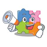 With megaphone puzzle character cartoon style Stock Image