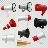 Megaphone realistic 3d high volume speaker device mouthpiece speaking-trumpet vector illustration. Announcement audio broadcasting sound bullhorn Royalty Free Stock Photos