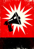 Megaphone. Red and black poster with megaphone Royalty Free Stock Photos
