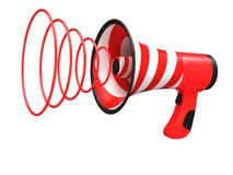 Megaphone with red stripes Royalty Free Stock Photography