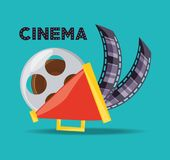 Megaphone and reel with filmstrips to short film. Vector illustration Royalty Free Stock Image