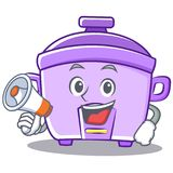 With megaphone rice cooker character cartoon Stock Photos