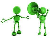 Megaphone and robots Royalty Free Stock Images