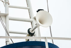 Megaphone on the roof of the ship Royalty Free Stock Photography