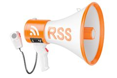 Megaphone with RSS logo podcast, 3D rendering. Isolated on white background Royalty Free Stock Image