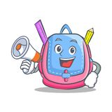 With megaphone school bag character cartoon. Vector illustration Stock Images