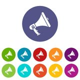 Megaphone set icons Stock Photos