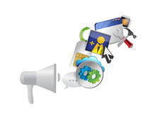 Megaphone and set of icons messages Stock Images