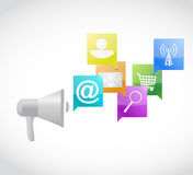Megaphone and set of icons messages Royalty Free Stock Photo