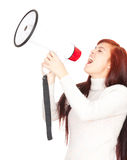 Megaphone and  shouting girl. Teenage girl shouting through megaphone white background Stock Photos