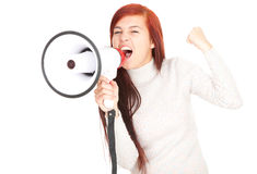 Megaphone and shouting teenage girl Stock Photos