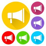 Megaphone sign icon set Royalty Free Stock Images