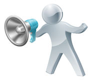 Megaphone silver man Stock Photography