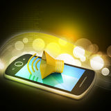 Megaphone with smart phone Royalty Free Stock Image