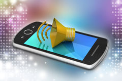 Megaphone with smart phone Stock Photo