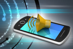 Megaphone with smart phone Stock Photography