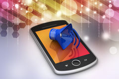 Megaphone with smart phone Stock Photos