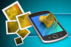 Megaphone with smart phone Royalty Free Stock Photos