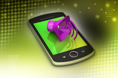 Megaphone with smart phone Royalty Free Stock Photo