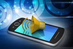 Megaphone with smart phone Stock Photo