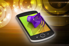 Megaphone with smart phone Royalty Free Stock Images