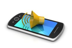 Megaphone with smart phone Royalty Free Stock Photography