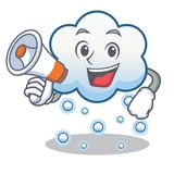 With megaphone snow cloud character cartoon Stock Image