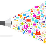 Megaphone Social Media Icons On White Background Network Communication Concept Royalty Free Stock Image