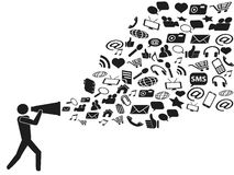 Megaphone social media marketing stock illustration