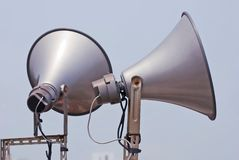 Megaphone speak to sky Royalty Free Stock Image